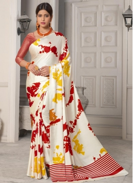 Off White and Red Digital Print Work Traditional Designer Saree