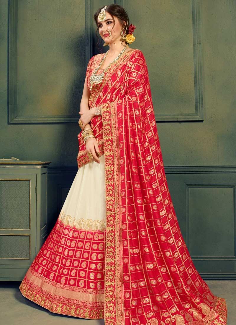 Off White and Red Jacquard Silk Trendy A Line Lehenga Choli