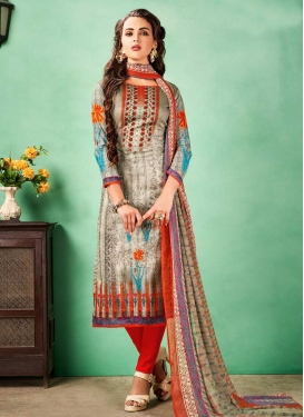 Off White and Red Pant Style Classic Salwar Suit