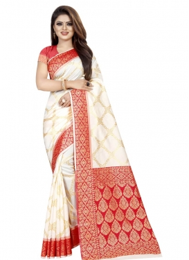 Off White and Red Thread Work Trendy Saree