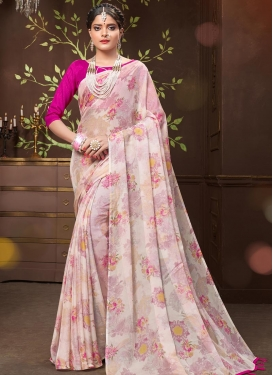 Off White and Rose Pink Digital Print Work Trendy Classic Saree