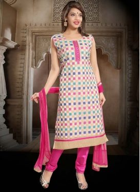 Off White and Rose Pink Lace Work Readymade Churidar Suit