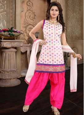 Off White and Rose Pink Lace Work Readymade Salwar Suit
