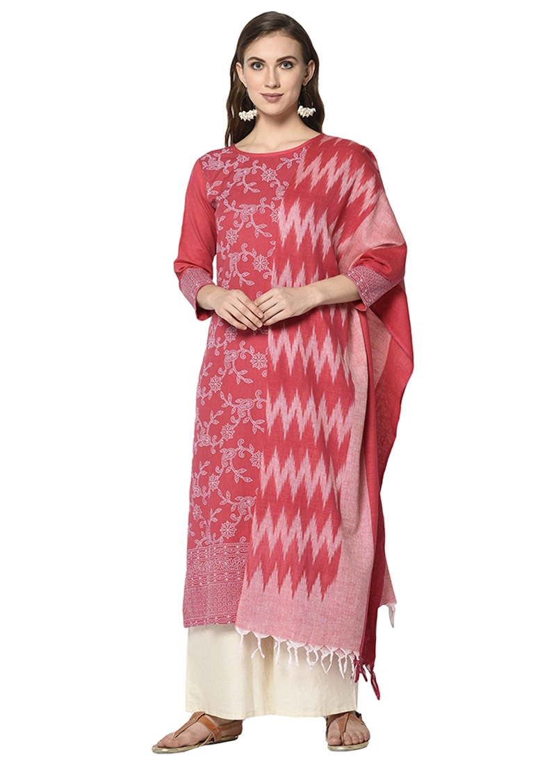 Off White and Rose Pink Print Work Palazzo Straight Salwar Suit