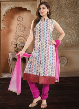 Off White and Rose Pink Readymade Churidar Suit For Ceremonial