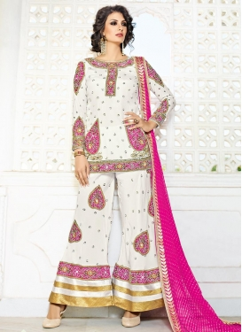 Off White and Rose Pink Silk Designer Palazzo Salwar Kameez