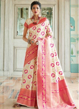 Off White and Rose Pink Thread Work Handloom Silk Traditional Designer Saree