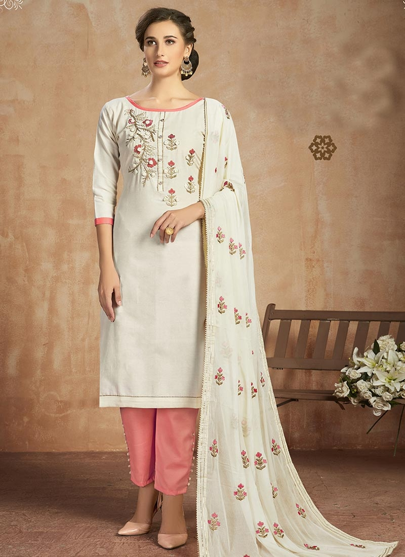 Off White and Salmon Pant Style Straight Salwar Kameez