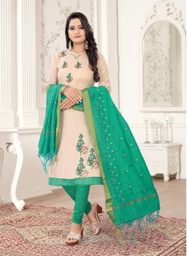 Off White and Sea Green Color Churidar Suit