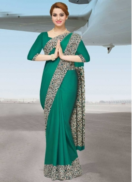 Off White and Sea Green Crepe Silk Designer Traditional Saree