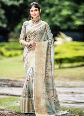 Off White and Sea Green Designer Traditional Saree