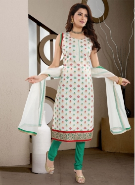 Off White and Sea Green Lace Work Readymade Churidar Suit