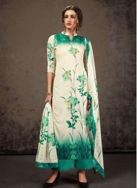 Off White and Sea Green Palazzo Style Pakistani Salwar Suit