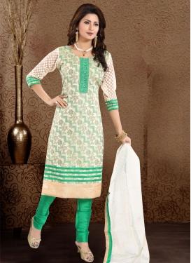 Off White and Sea Green Readymade Churidar Salwar Kameez