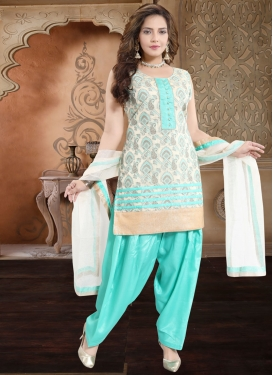 Off White and Turquoise Banglori Silk Readymade Salwar Suit
