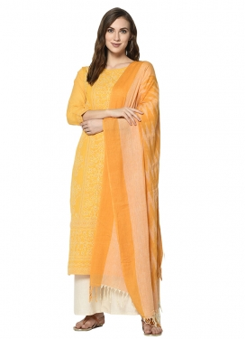 Off White and Yellow Designer Palazzo Salwar Kameez For Casual