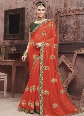 Olive and Orange Art Silk Designer Contemporary Saree For Ceremonial