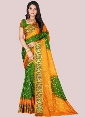 Olive and Orange Art Silk Trendy Classic Saree