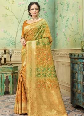 Olive and Orange Designer Traditional Saree