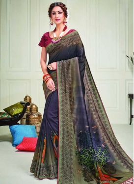 Olive and Purple Designer Contemporary Saree For Party