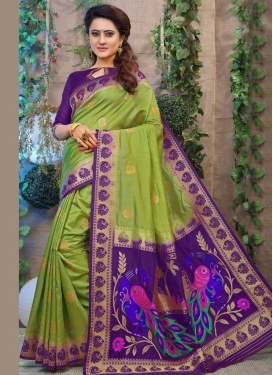 Olive and Purple Thread Work Traditional Saree