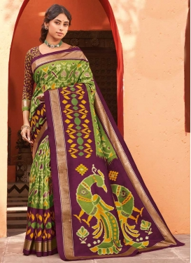 Olive and Purple Trendy Classic Saree For Casual