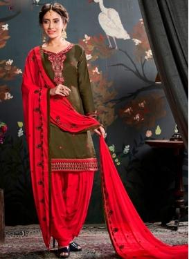 Olive and Red Cotton Semi Patiala Salwar Kameez