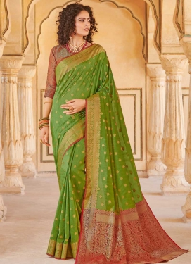 Olive and Red Designer Contemporary Saree