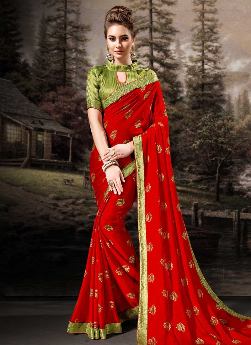 Olive and Red Faux Chiffon Traditional Saree