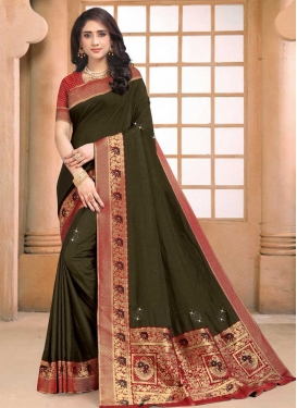 Olive and Red Lace Work Vichitra Silk Designer Contemporary Style Saree