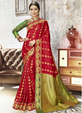 Olive and Red Thread Work Contemporary Style Saree