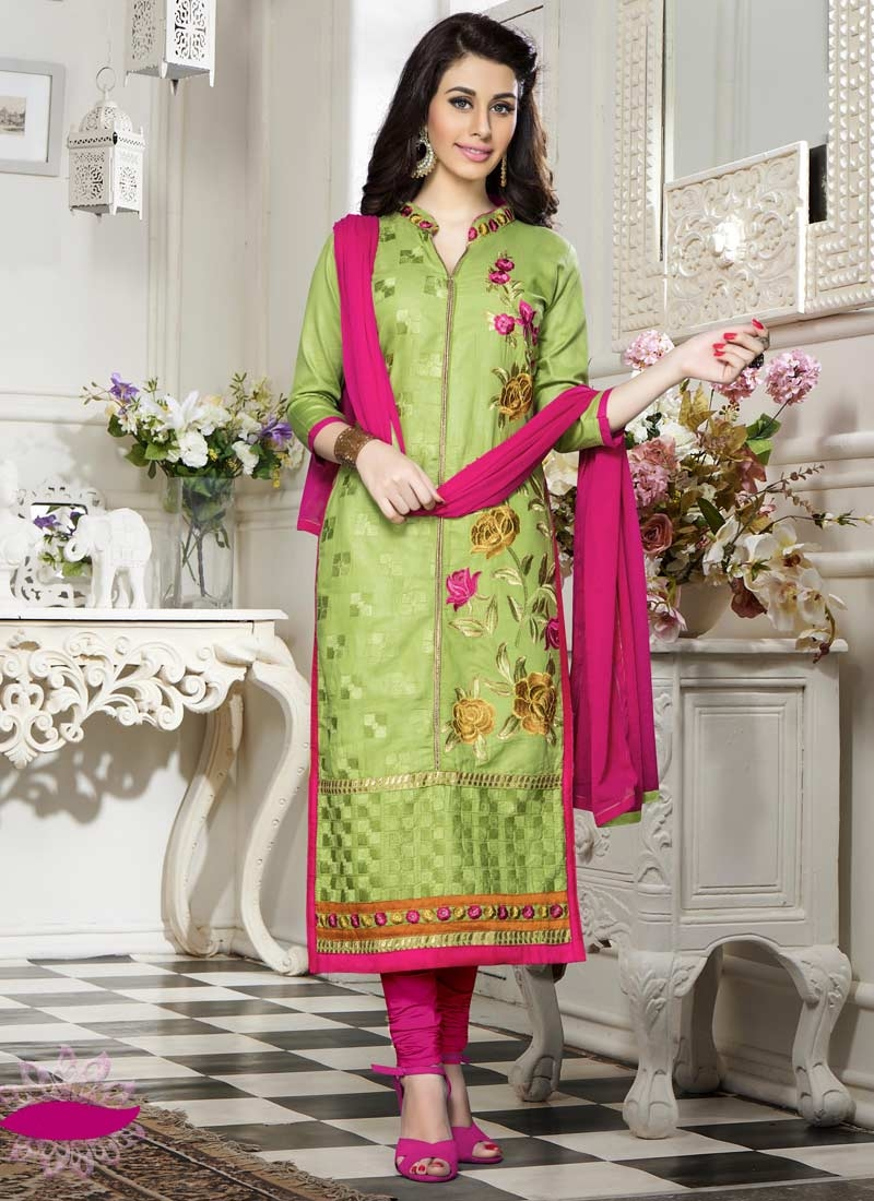 Olive and Rose Pink Churidar Suit For Festival