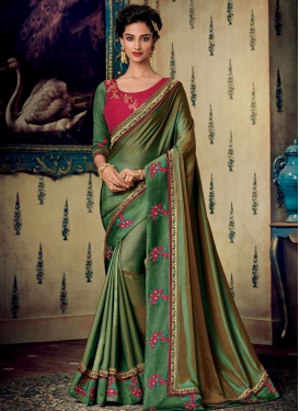 Olive and Rose Pink Embroidered Work Designer Contemporary Saree