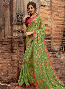Olive and Rose Pink Lace Work Trendy Classic Saree