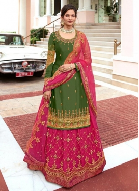Olive and Rose Pink Net Kameez Style Lehenga Choli