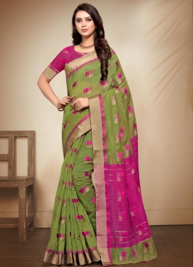 Olive and Rose Pink Traditional Designer Saree For Casual