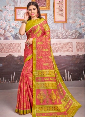 Olive and Rose Pink Trendy Classic Saree