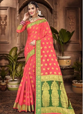 Olive and Salmon Chanderi Cotton Traditional Designer Saree For Casual