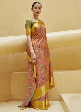 Olive and Salmon Digital Print Work Contemporary Style Saree