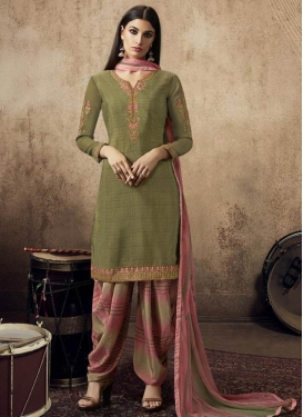 Olive and Salmon Trendy Straight Salwar Suit
