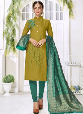 Olive and Sea Green Churidar Salwar Kameez For Casual