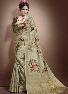 Olive and Sea Green Digital Print Work Trendy Classic Saree