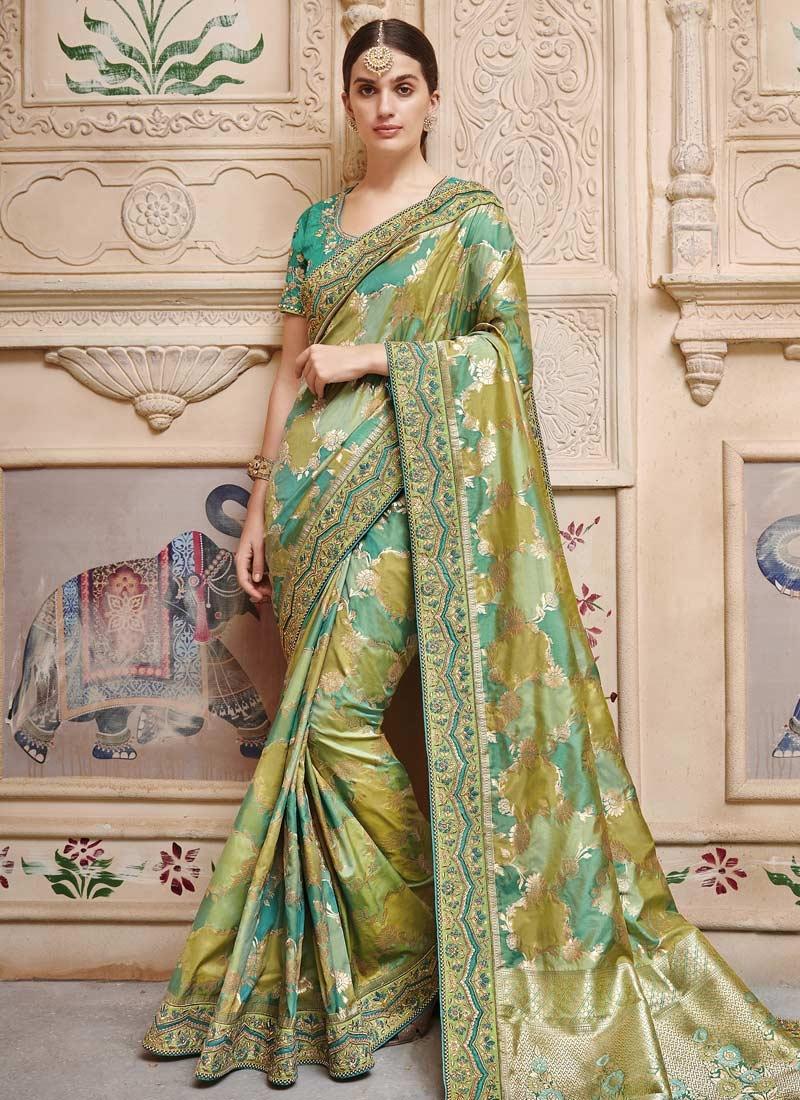 Olive and Sea Green Jacquard Silk Trendy Saree