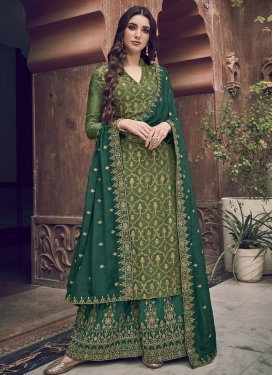 Olive and Sea Green Palazzo Style Pakistani Salwar Kameez For Festival