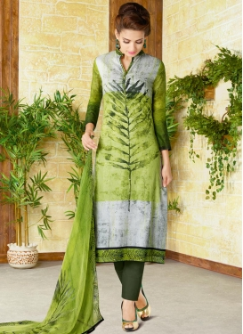 Olive and Silver Color Digital Print Work Pant Style Pakistani Suit