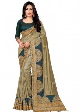 Olive and Teal Designer Contemporary Saree