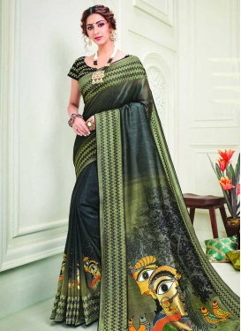 Olive and Teal Designer Contemporary Style Saree For Festival