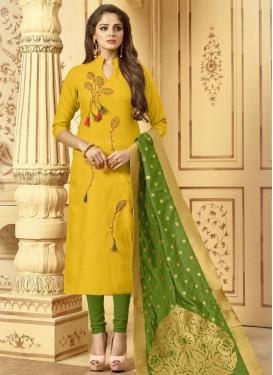 Olive and Yellow Cotton Trendy Pakistani Salwar Kameez