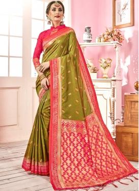 Olive Weaving Traditional Designer Saree