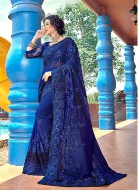 Opulent Navy Blue Patch Border Faux Georgette Classic Designer Saree